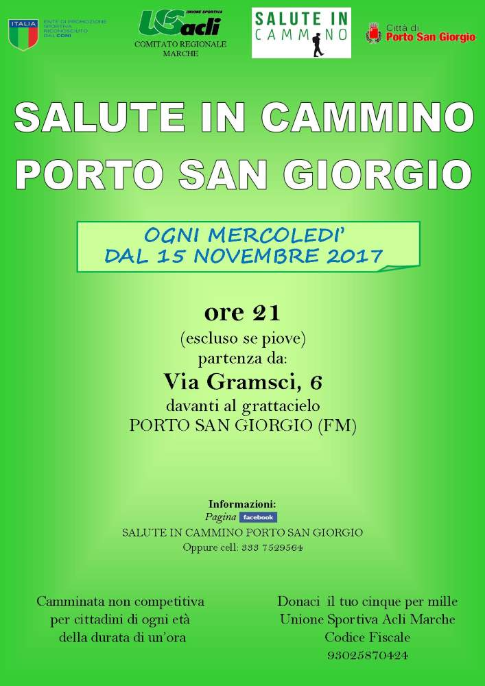 """Il 15 novembre Riprende """"Salute in cammino"""" a Porto San Giorgio"""