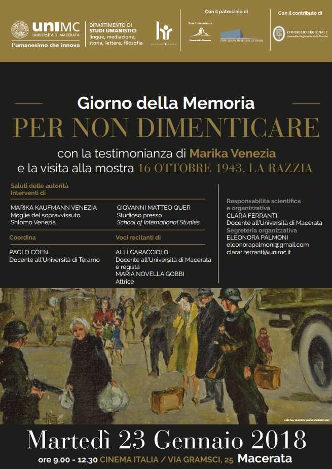 Giorno delle Memoria, la testimonianza di Marika Venezia a UniMc