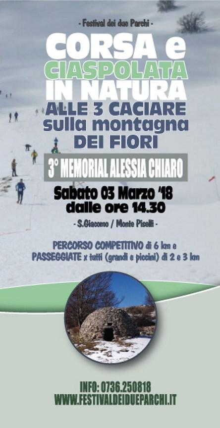 Ciaspolata: 3° Memorial Alessia Chiaro alle 3 Caciare sulla Montagna dei Fiori