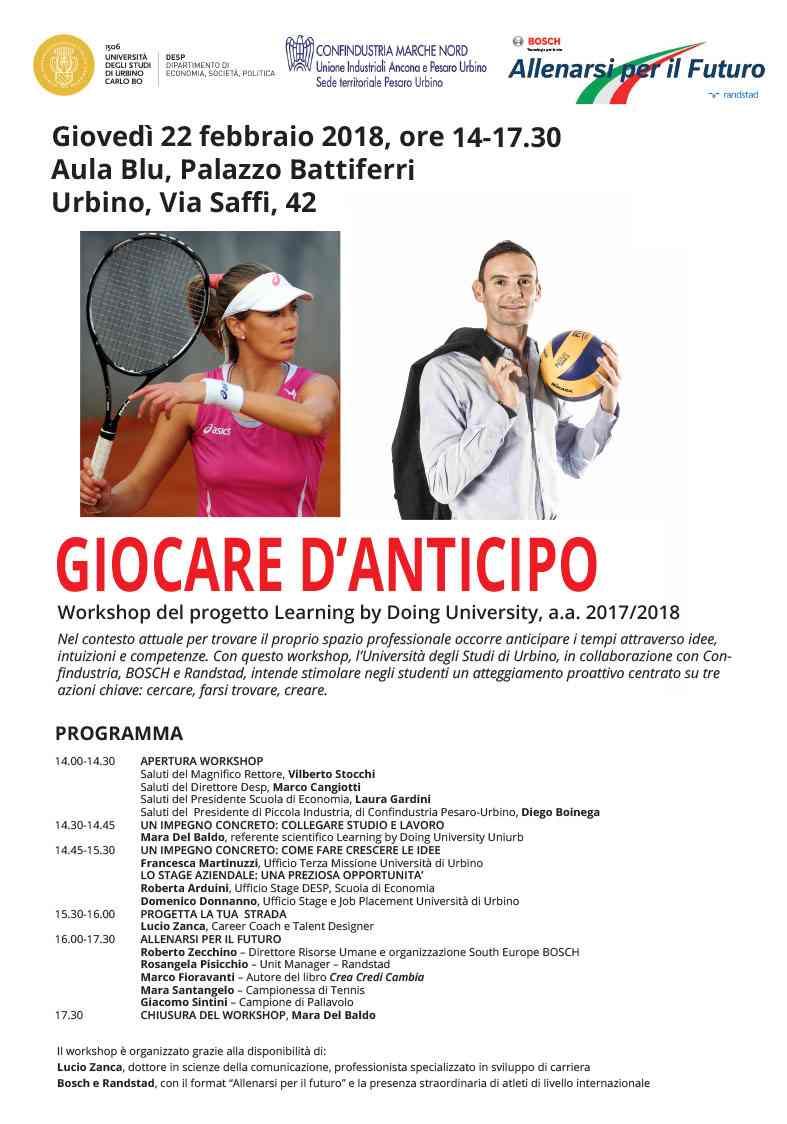 """A Urbino si invitano i ragazzi a """"Giocare d'anticipo"""""""