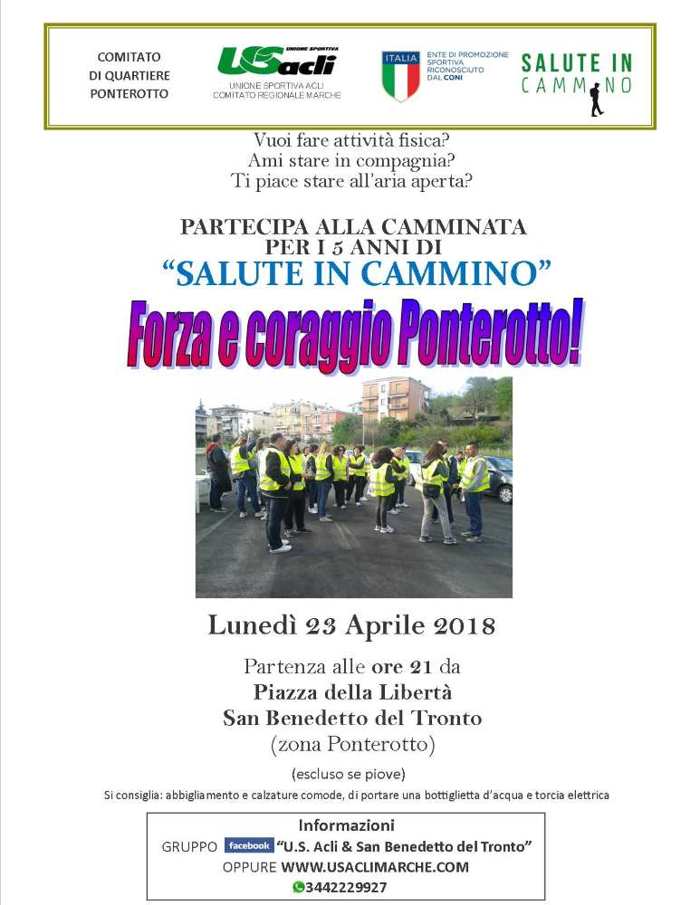 Salute in cammino spegne 5 candeline: il 23 aprile iniziativa a San Benedetto