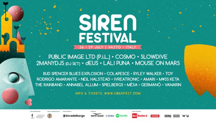 Una super line up per il Siren Festival 2018: P.I.L., Slowdive, dEUS, Mouse On Mars, Cosmo, Colapesce e tanti altri