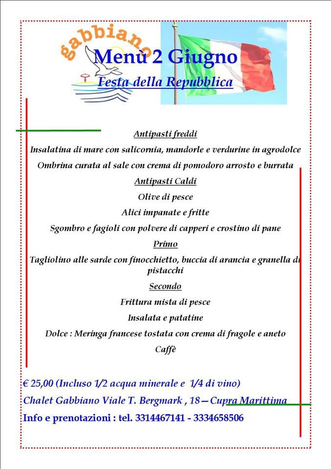 Menu speciale per la Festa della Repubblica allo chalet Gabbiano