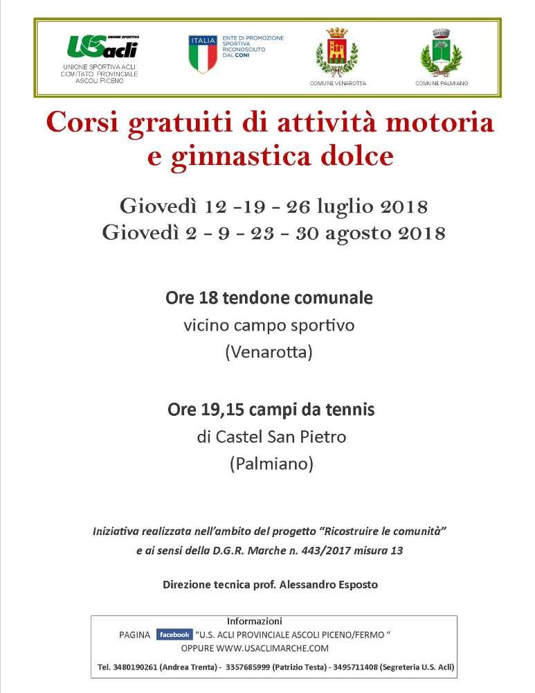 Attività motoria e ginnastica dolce, corsi gratuiti a Venarotta e Palmiano