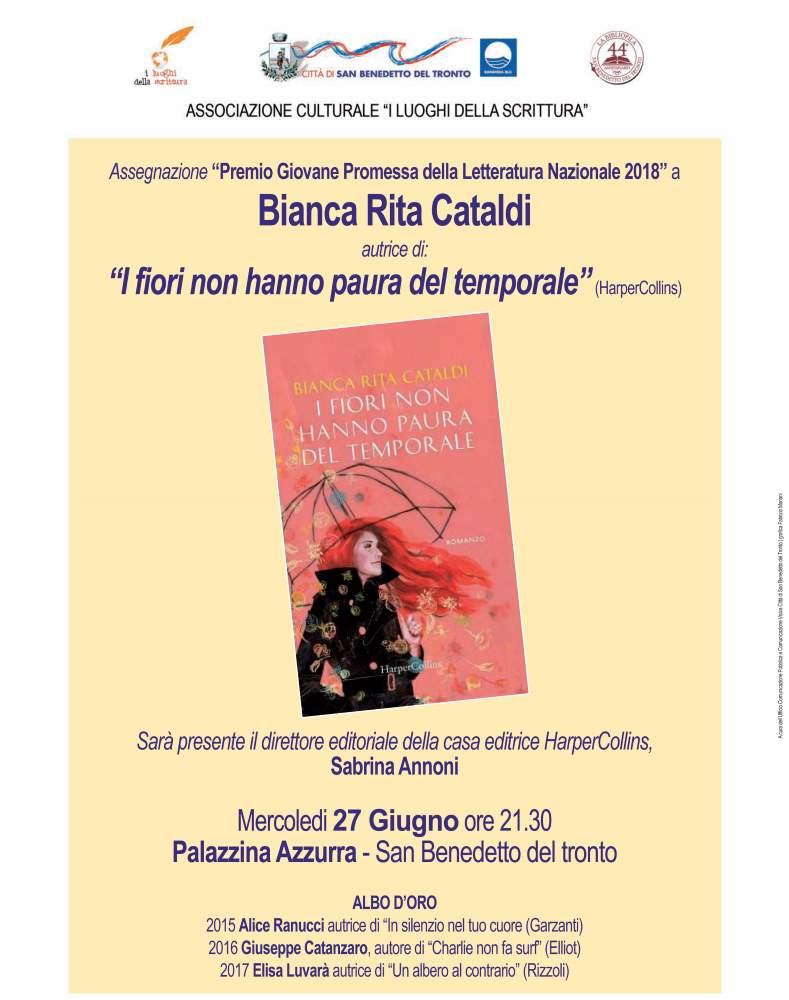 """Bianca Rita Cataldi, """"i fiori non hanno paura del temporale"""""""