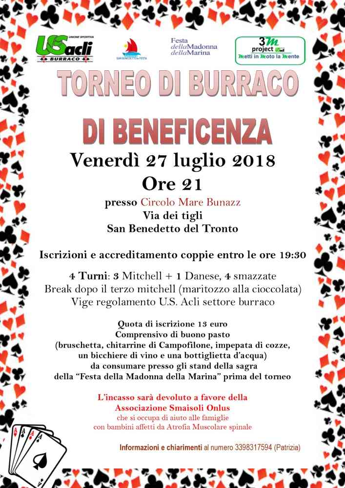 Burraco, torneo di beneficenza