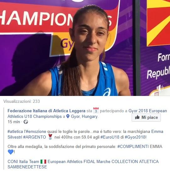 Emma Silvestri, 400 hs d'argento agli Europei u 18 di Gyor