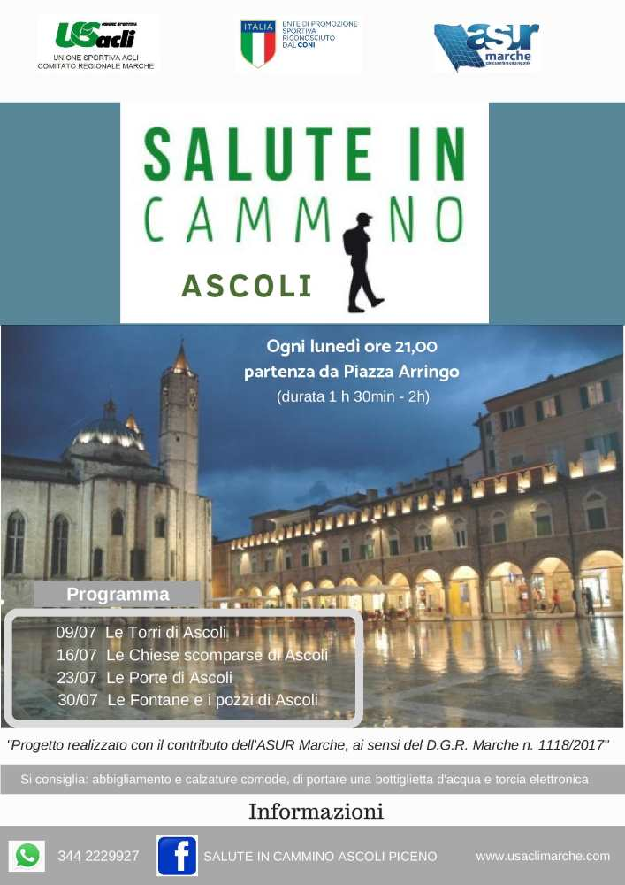 """Raddoppia """"Salute in cammino"""" Ascoli, al via le camminate culturali"""