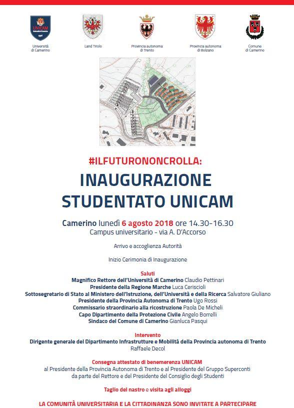 Il 6 agosto l'inaugurazione del nuovo studentato UniCam