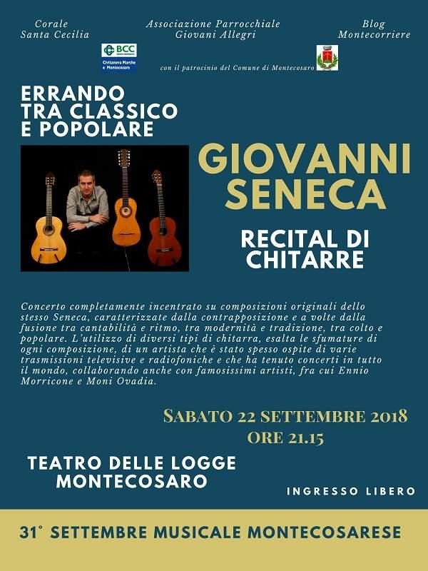 A Montecosaro recital di chitarre, fra classico e popolare, di Giovanni Seneca