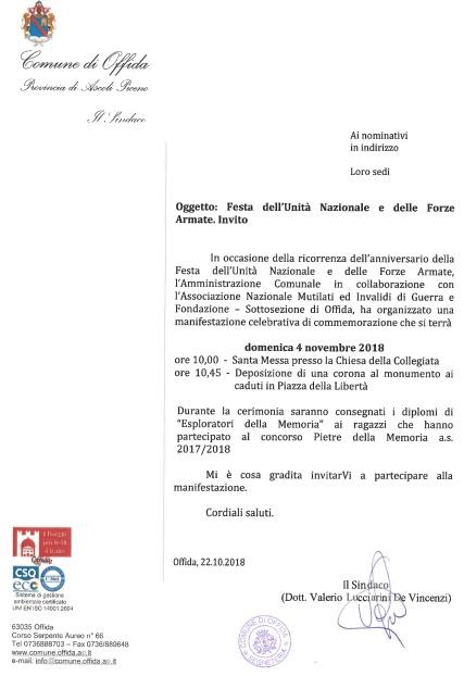 4 novembre a Offida: Festa dell'Unità Nazionale e delle Forze dell'Ordine e Premio Lussu