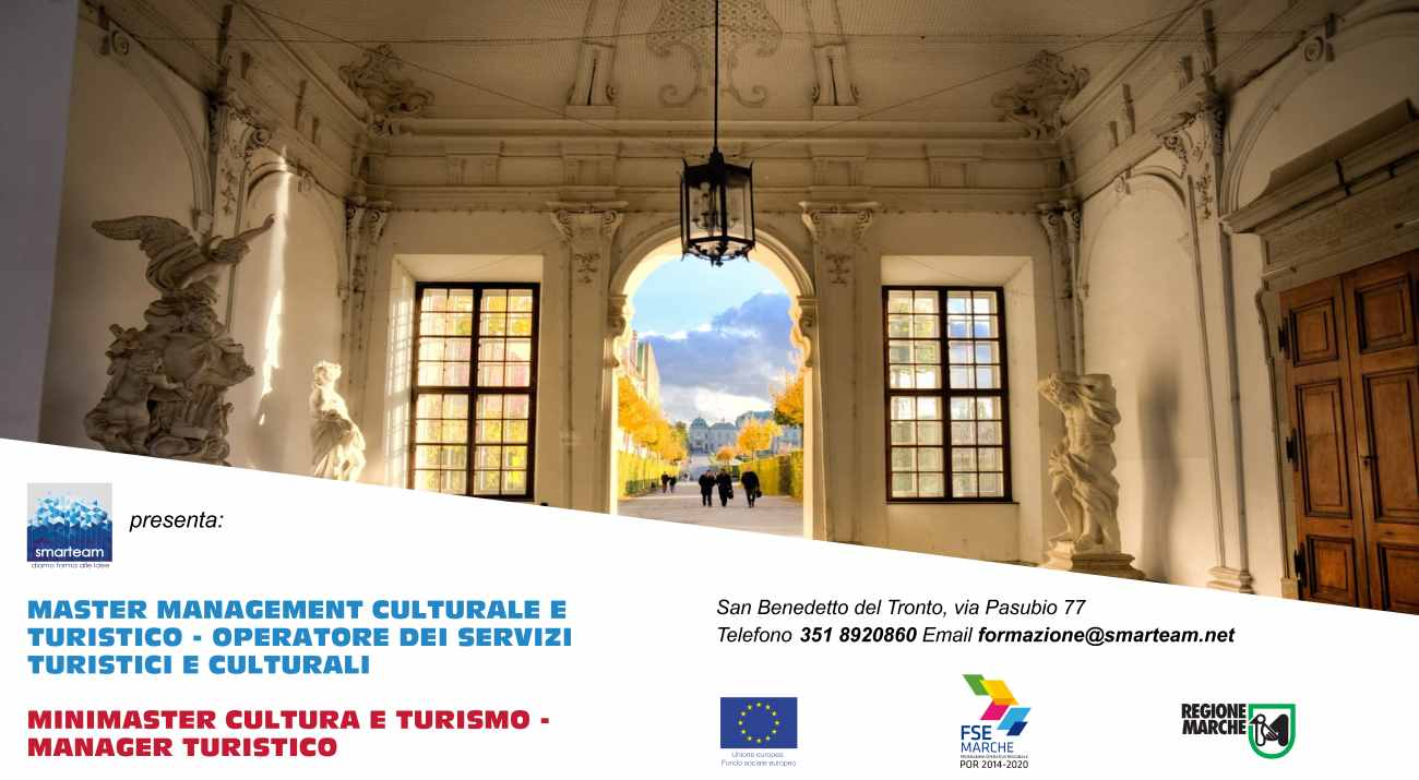Corsi gratuiti di formazionenel settore turismo e culturacoi voucher Fse della Regione Marche