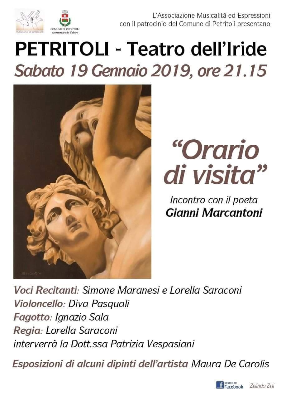 """Gianni Marcantoni, """"Orario di visita"""" al Teatro dell'Iride"""