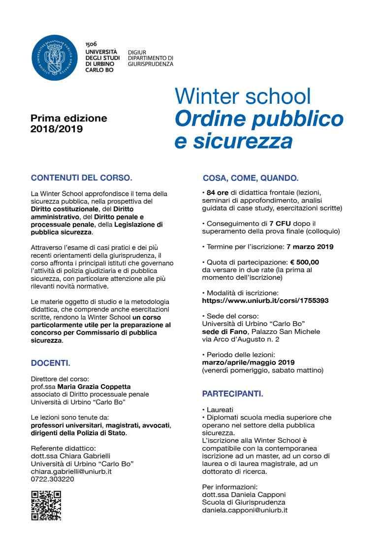 """Al via la Winter School """"Ordine pubblico e sicurezza"""" all'UniUrb"""