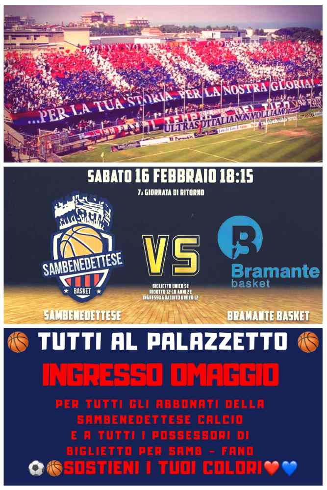 Basket, Samb – Pesaro: tutti al PalaSpeca