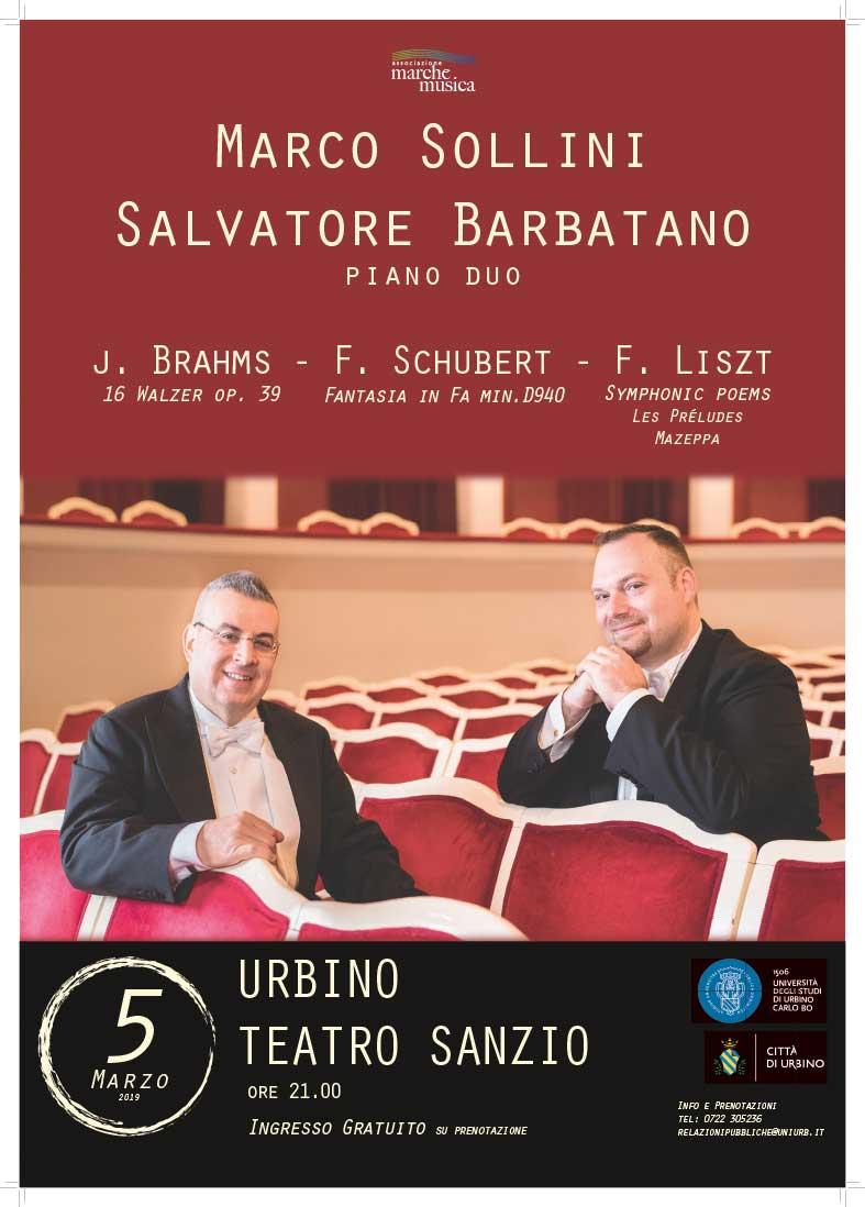 """Primo concerto del 2019 per gli studenti di UniUrb:il """"Piano duo"""" di Sollini e Barbatano"""