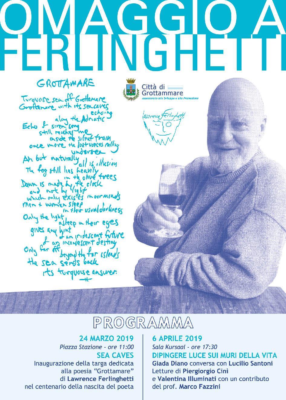 A Grottammare l'omaggio a Lawrence Ferlinghetti per i suoi cento anni