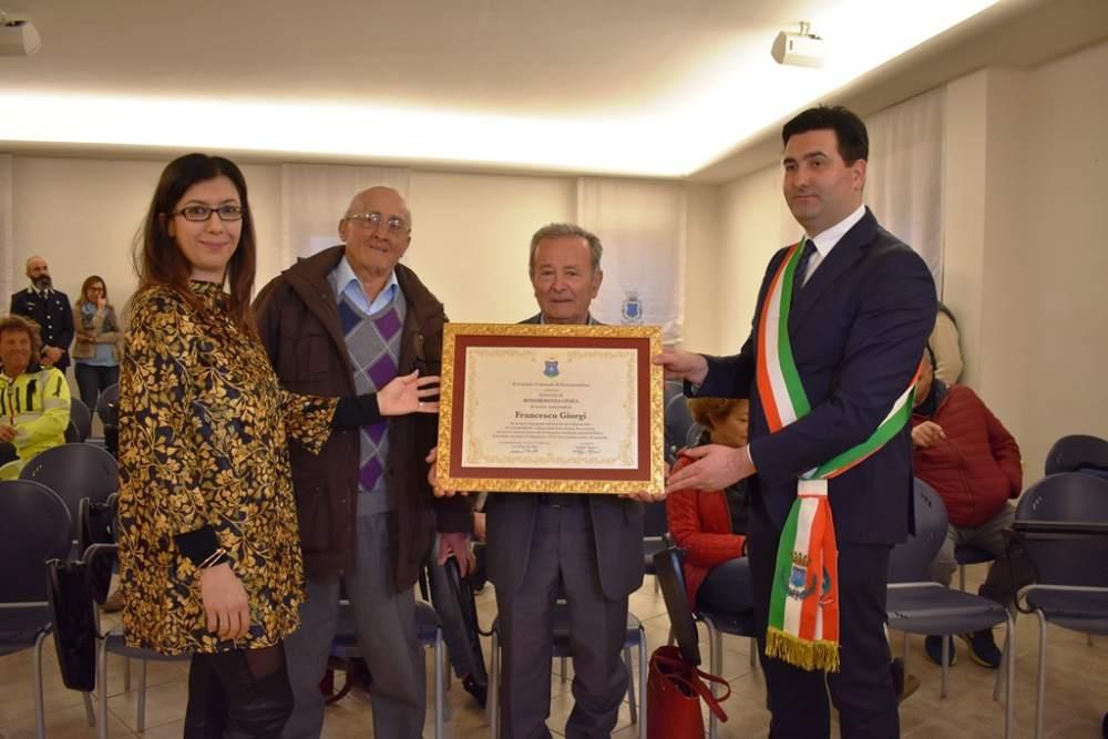 Consegnata a Francesco Giorgi una Benemerenza Civica