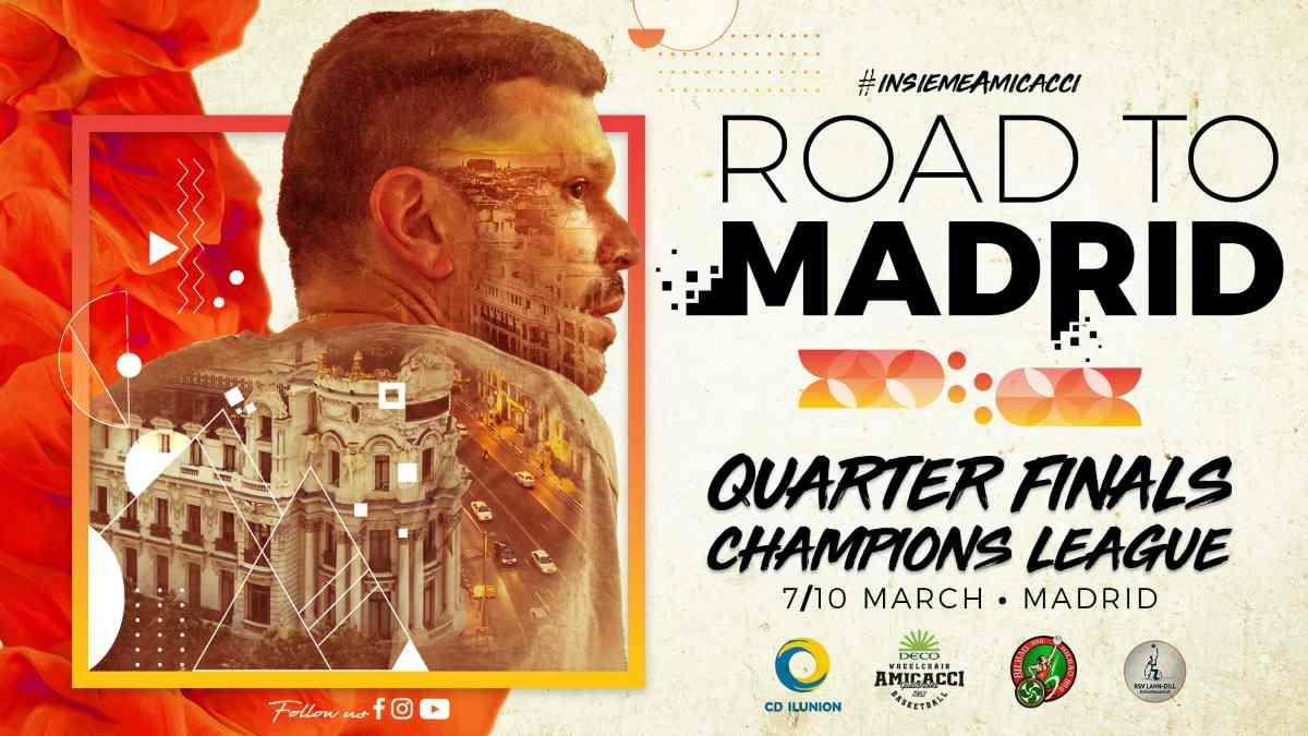 Basket in carrozzina, Champions League: Amicacci a Madrid per sognare in grande
