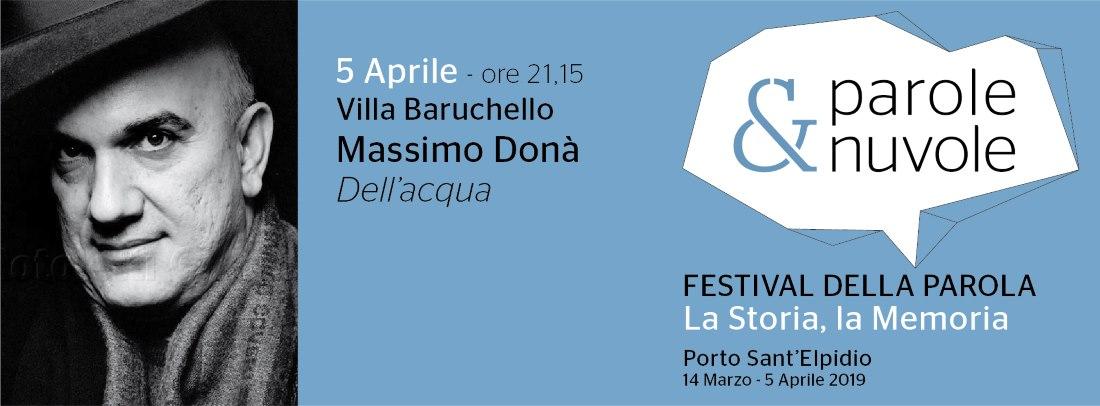 """Massimo Doná, """"Dell'acqua"""" chiude Parole&Nuvole"""
