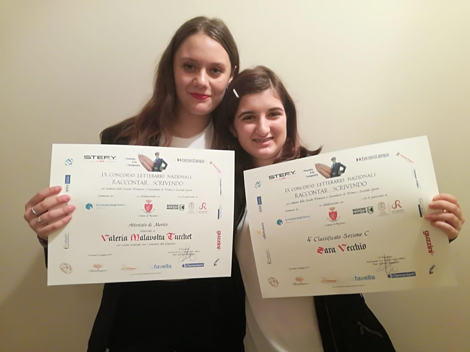 Raccontar… scrivendo, due studentesse del Liceo Rosetti premiate al Concorso nazionale