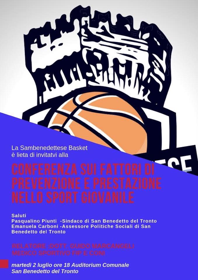 """Conferenza Samb Basket: """"Fattori di prevenzione e prestazione nello sport giovanile"""""""