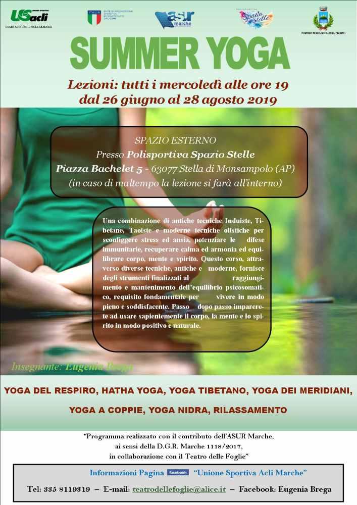 Corso gratuito di yoga a Stella di Monsampolo