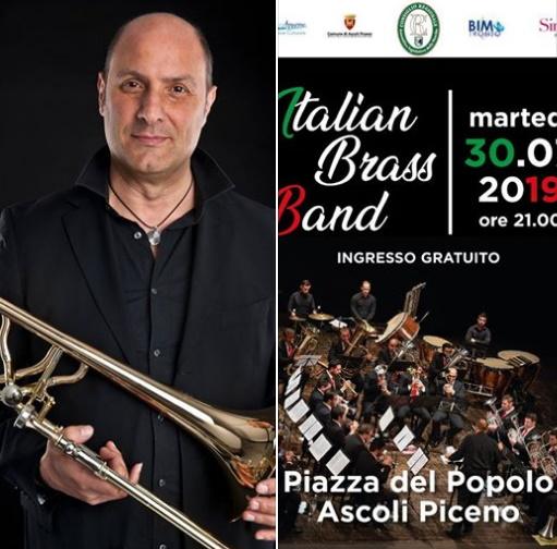 Lito Fontana con l'Italian Brass Band in Piazza del Popolo