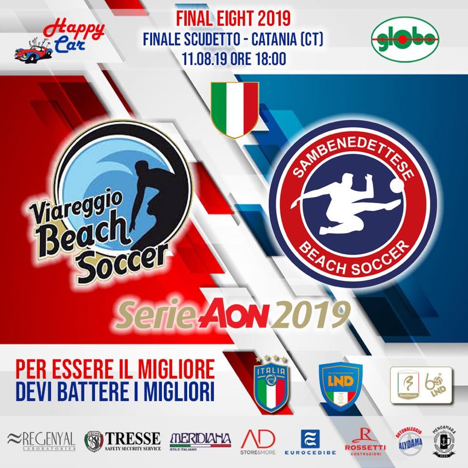 Beach Soccer serie Aon, la Samb si gioca il tricolore con il Viareggio (Samb Beach Soccer Campione d'Italia: battuto Viareggio 6 a 5)