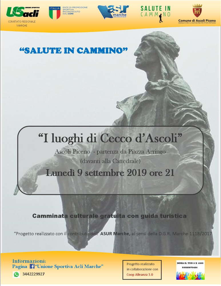 I luoghi di Cecco d'Ascoli, lunedì 9 settembre si parte alle 21 da Piazza Arringo