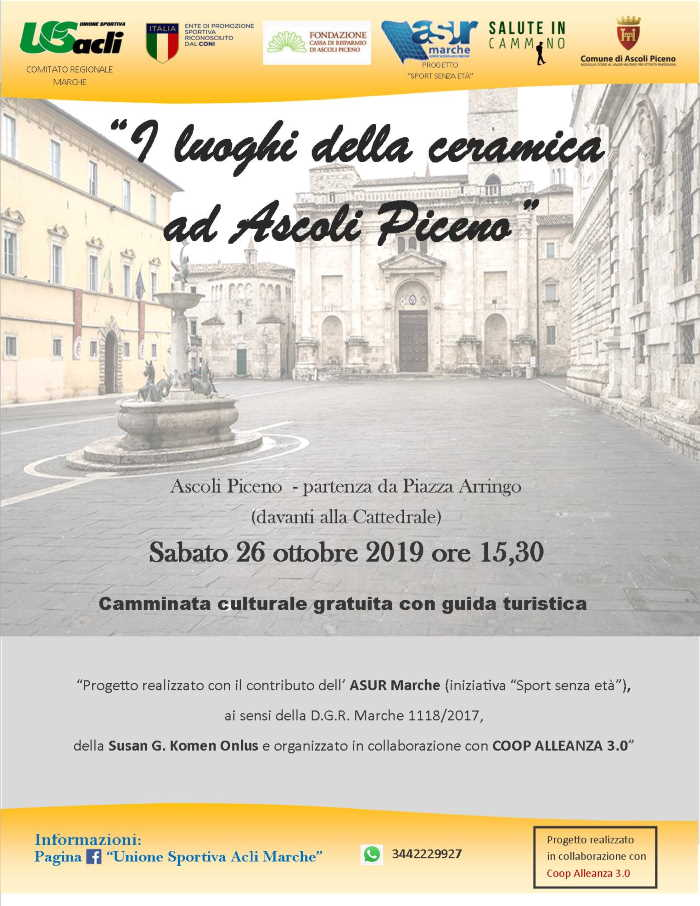 """Salute in cammino verso """"I luoghi della ceramica ad Ascoli Piceno"""""""