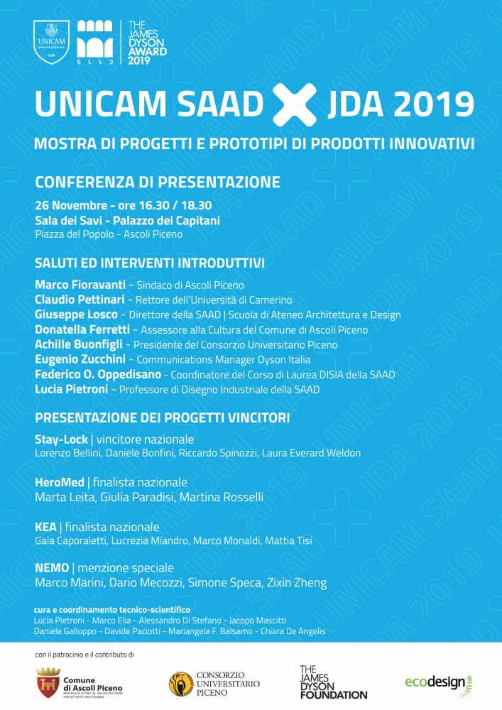"""Mostra """"UniCam Saad x Jda 2019. Progetti e prototipi di prodotti innovativi"""""""