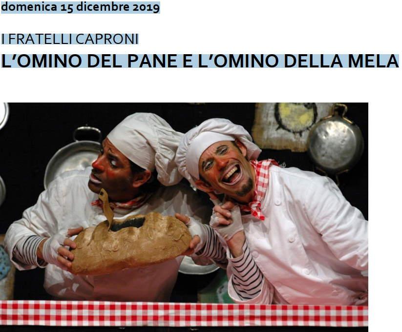 """Domenica in Famiglia al Concordia con """"L'omino del pane e l'omino della mela"""""""