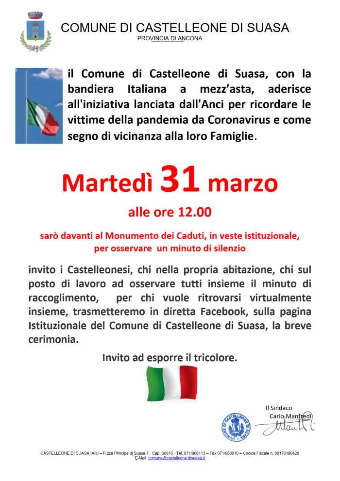 Castelleone di Suasa ricorda le vittime della pandemia