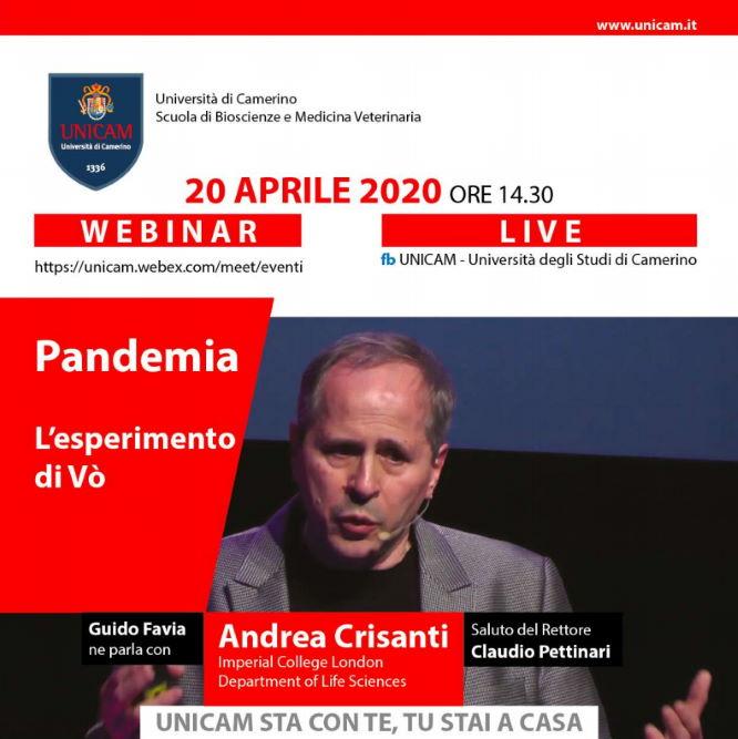 """Andrea Crisanti, """"Pandemia. L'esperimento di Vo'"""" seminario telematico UniCam"""