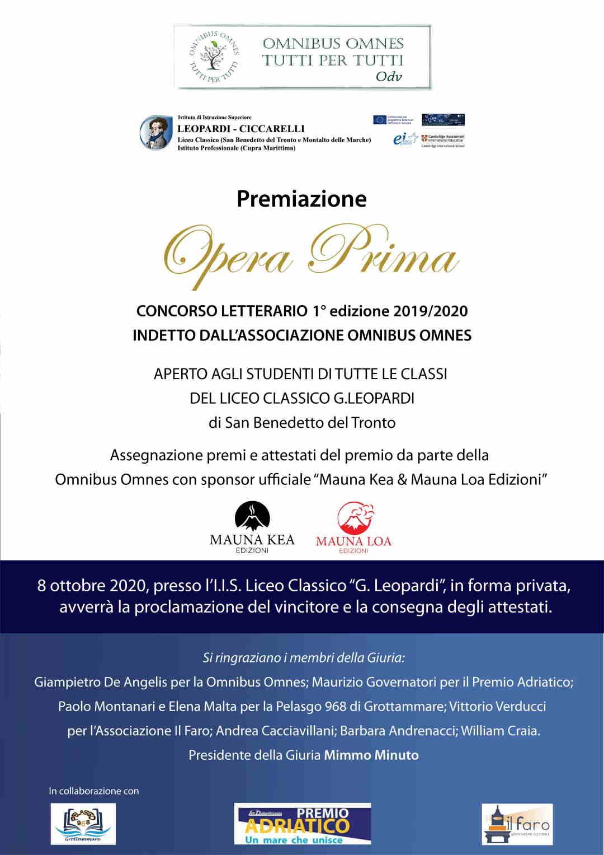 Opera Prima, concorso letterario della Omnibus: vince Galiffa del Liceo Classico Leopardi