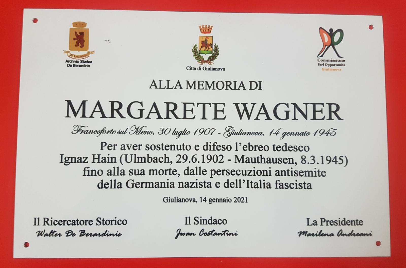 Giulianova ricorda il coraggio di Margarete Wagner con una targa commemorativa