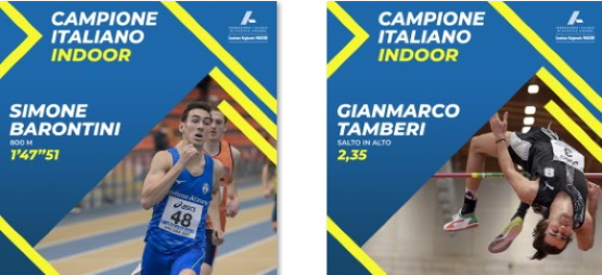 Tamberi mondiale vola a 2.35, Barontini ancora campione agli assoluti indoor di Ancona