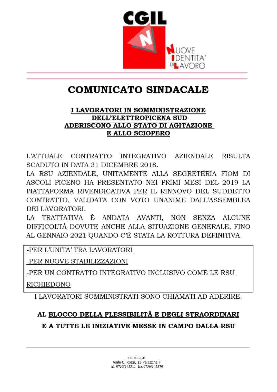 da Fiom Cgil Ascoli Piceno – Nidil Cgil Ascoli Piceno