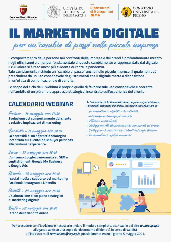 """Al via le iscrizioni per il ciclo di webinar formativi 'Ilmarketingdigitale per un """"cambio di passo"""" nelle piccole imprese'"""