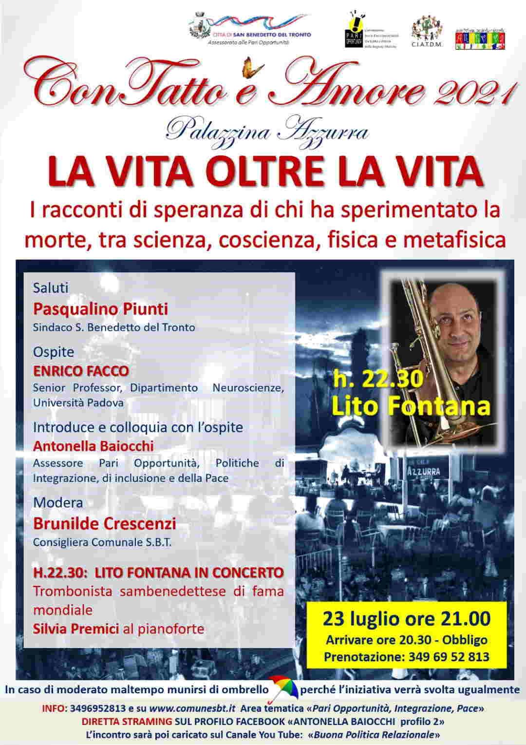 """ConTatto è amore, Enrico Facco: """"vita oltre la vita"""". Lito Fontana in concerto"""