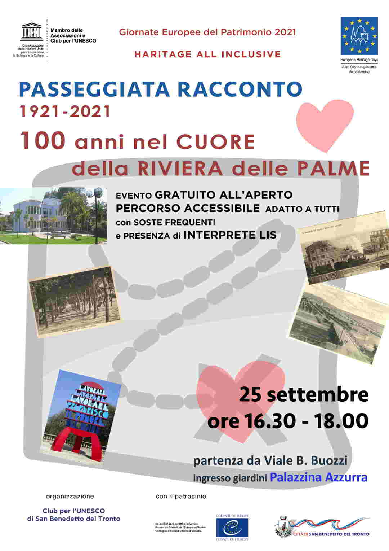 """Club per l'Unesco, Passeggiata patrimoniale: """"1921 – 2021, 100 anni nel cuore della Riviera delle Palme"""""""